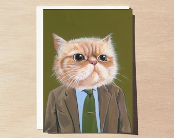 Harold - Greeting Card - Blank Inside - Cats In Clothes