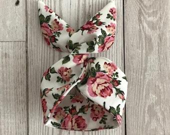 White zebra pattern Bendy bun tie  wired hair wrap