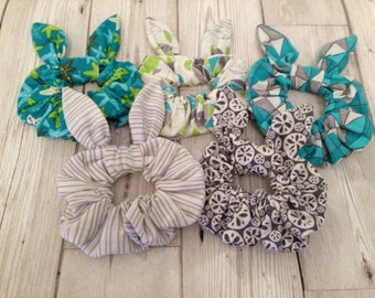 At the seaside x5 pack bendy bow hair Scrunchies - Seaside themed patterned  - wire bows for you to bend f6e1bcbd880