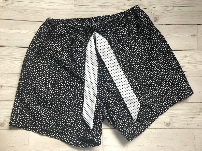 black and white patterned shorts