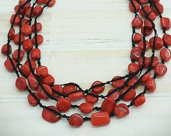 Red Bib necklace, Red statement necklace, Red corals necklace, Red and black necklace, red bohemian necklace, red multi strand necklace