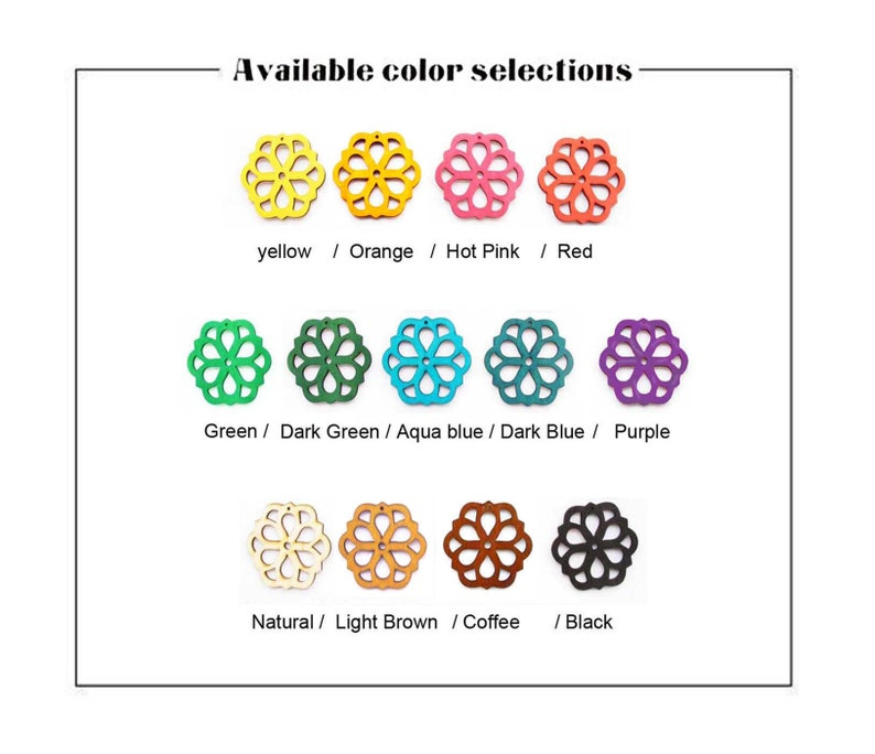 Dyeing Series 6 Pcs 48 x  52 mm Variety of Colors Filigree Geometric Wood Dangle Wooden CharmPendant NM1530