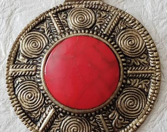 X-Large Tribal Faux Red Turquoise Nepalese Statement Pendant Dome Shaped