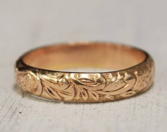 Gold Floral Ring, 14K  Fill, Wedding Band, Posey Ring, Midi Ring, Thumb Ring, Feminine Jewelry, Flower Ring