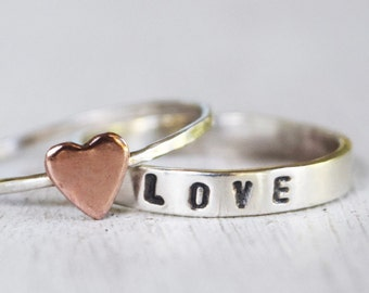 Love or Customized Text Ring - Sterling Silver Text Ring and Copper Heart Ring - Silver Jewelry - Heart Ring Set