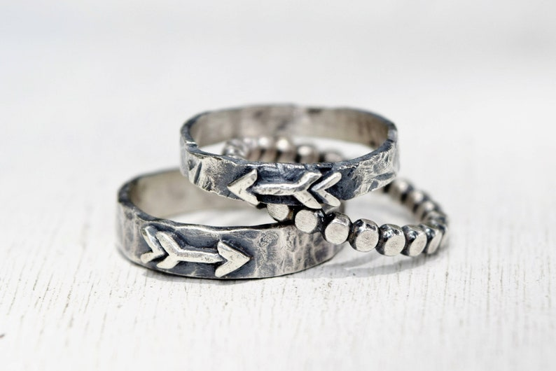 Rustic Set of 3 Stacking Rings, Sterling Silver Arrow Band