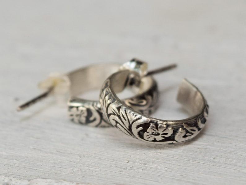 Custom Made Sterling Silver Small Floral Hoop Earrings