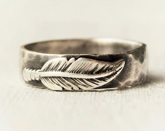 Sterling Silver Ring,  Feather Ring, Mens Wedding Ring, Unisex Wedding Band, Rustic Ring, Feather Jewelry, Wedding Band, Unique Wedding Ring
