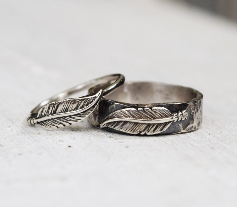 0af38c43d4 Sterling Silver Feather Ring Set His & Hers Wedding Bands | Etsy