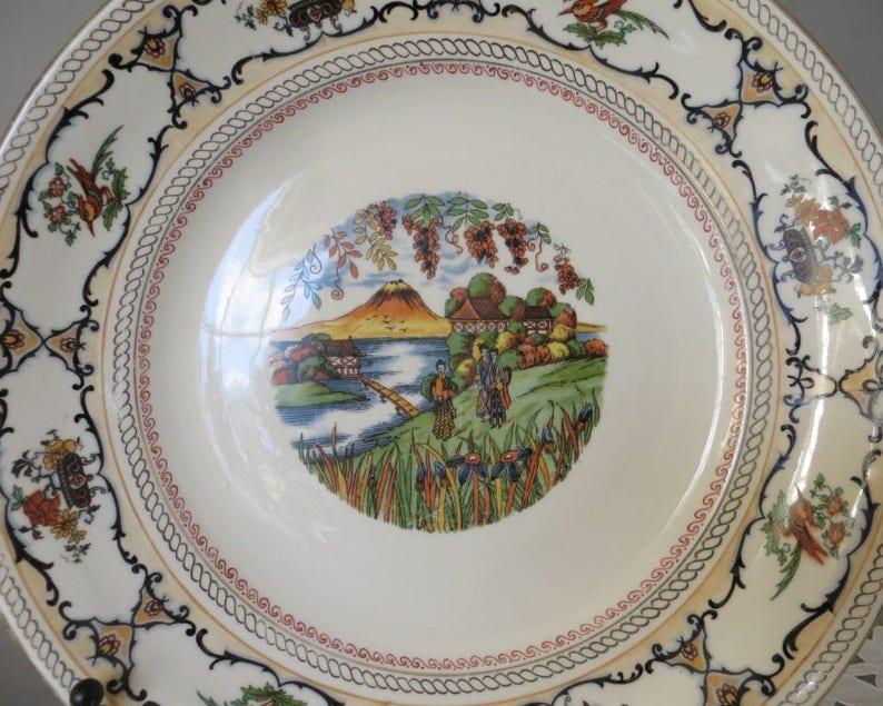 Vintage Serving Plate German Porcelain Plate Large Plate Chinese Design Bone China