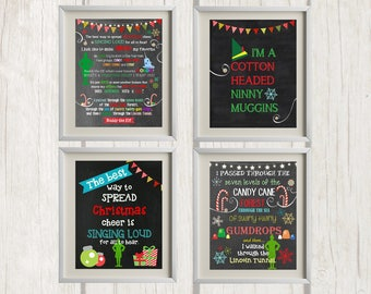 8x10 Buddy the Elf Christmas Printables - Set of 4 | Christmas Decor - INSTANT DOWNLOAD
