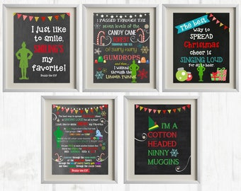 8x10 Buddy the Elf Printables - Set of 5   Christmas Decor - INSTANT DOWNLOAD