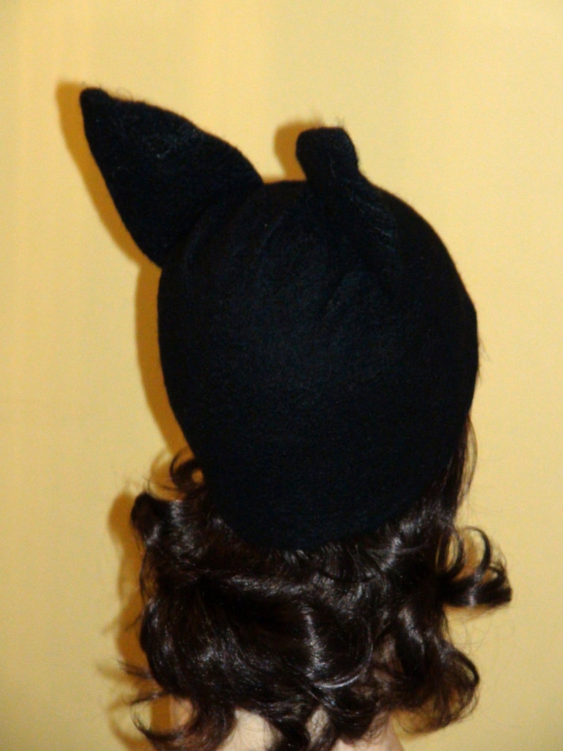 Felted Beanie  Fox  felted Kat Von D hat Halloween  cat hat Skull Cap beanie black winter ski hat