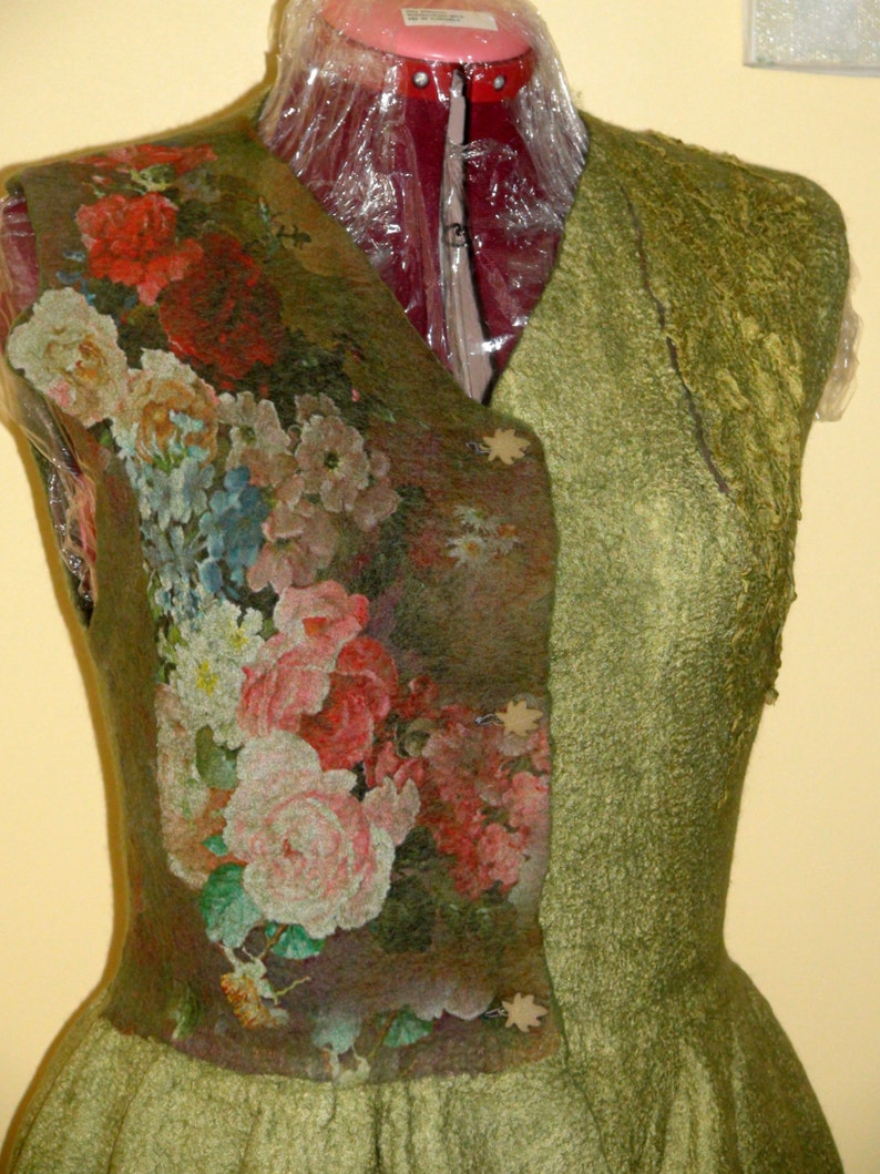 Nuno felted vest olive moss green merino Floral