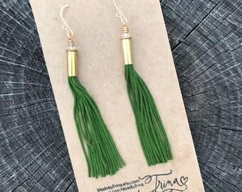 Grass green bunka cord fringe earrings with 22 caliber shells and handmade earwires