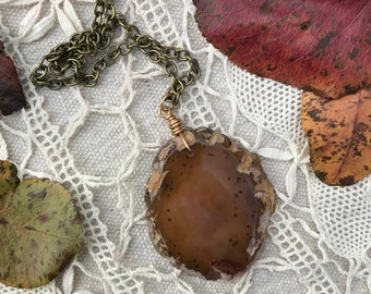 Speckled Amber geode agate slice pendant on 30 inch brass chain
