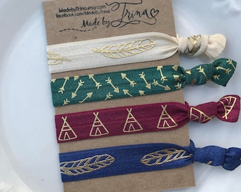 NATIVE jewel tones and gold teepee feather and arrow hair tie bracelet set