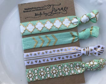 MINT DREAM and gold hair tie bracelet set