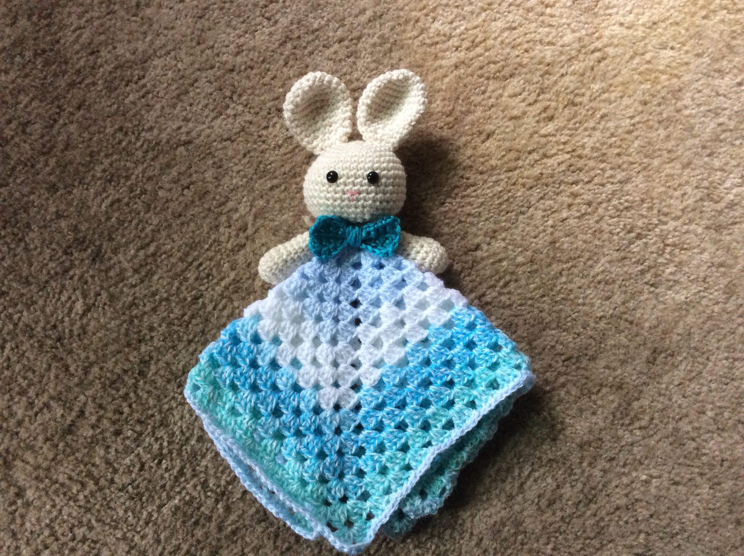 Bunny lovey blanket pattern, Lovey crochet pattern, Bunny security ...