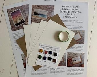 Watercolor Postcard Landscape Kit - SUNSET & LAKESHORE - Iowa Prairie Landscapes - Paint, Paper and Step by Step Instructions