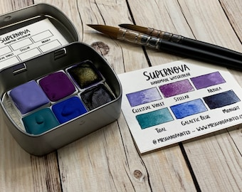 Handmade Watercolor Paints - SUPERNOVA - Artisan Paint Palette, Set of 6 Half Pans Galaxy and Celestial Watercolor