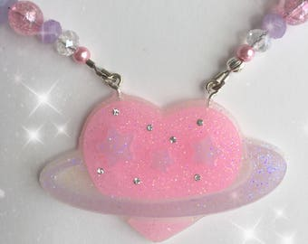 Uchuu kei Fairy kei Heart Planet Necklace