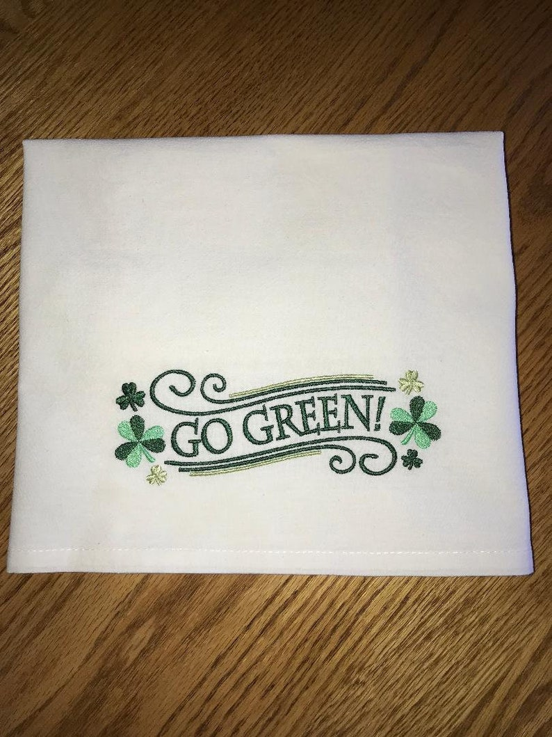 Go Green! Machine Embroidered Flour Sack Towel/Tea Towel/Hand Towel/Waffle  Weave Towel