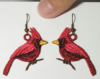 Lace Cardinal Earrings - Machine Embroidered Cardinal Earrings