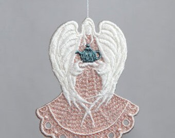 Tea for Two Angel (FSL) Lace, Tea for Two Angel Ornament, Machine Embroidery Angel