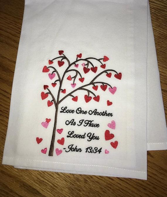 "Scripture Bathroom Hand Towel Set of 2 /""As I have Loved You .../"" John 13:34 NEW"
