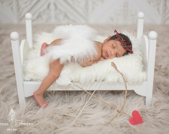 Christmas SALE! Infant Baby Angel Wings Costume Cupid Soft, Beautiful White Baby Blue Pink Ivory Red Professional Photo Prop FREE Halo