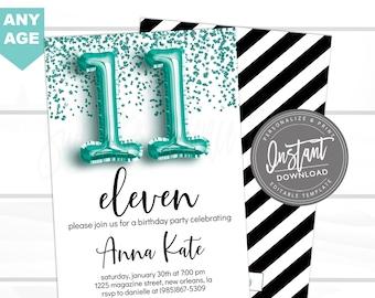 11th birthday Invitation, ANY AGE Editable Birthday Invitation, Rose Gold Glitter, Surprise, teen 13 12 11, Printable Invite, Instant Access