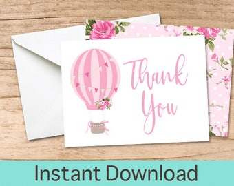Hot Air Balloon Thank You Card, Printable Thank you Cards, Thank You Instant Download, Pink Baby Shower Thank You Card