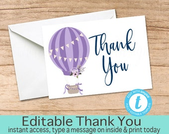 Hot Air Balloon Thank You Card, Printable Thank you Cards, Thank You, EDITABLE template, Instant Download, Purple Baby Shower Thank You Card
