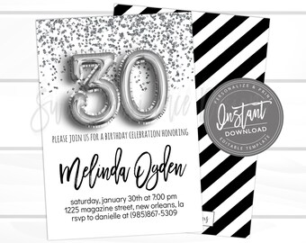30th Birthday Invitation Editable Dirty 30 Black Silver Glitter Surprise Printable Invite Instant Access