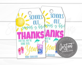 d9a4d0efd09 Teacher Appreciation Printable Gift Tag, Schools Out Summer Is Here Thank  You Favor Tag, End of Year, summer Tag Printable, Instant Download