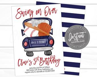 Baseball Birthday Invitation Swing On Over Editable Truck Template Boy Printable Instant Download