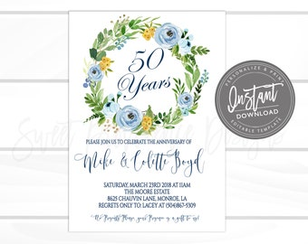 50th Anniversary Invitation Party Invite Any Year Surprise Floral Editable Instant Download Templett