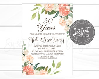50th Anniversary Invitation Etsy