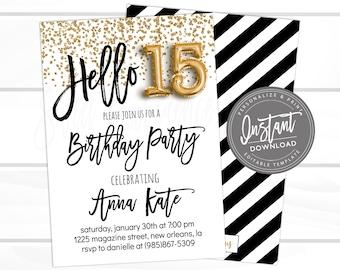 15th Birthday Invitation Editable Hello 15 Black Gold Glitter Surprise Printable Instant Download