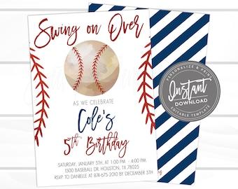 Baseball Birthday Invitation Swing On Over Editable Template Boy Printable Instant Download