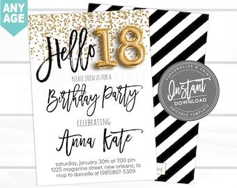 18th Birthday Invitation Editable Hello 18 Black Gold Glitter Surprise Printable Invite Instant Download