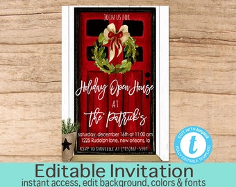 Open house invite etsy holiday open house christmas open house invitation editable template rustic holiday party invite berry wreath templett instant download stopboris Choice Image