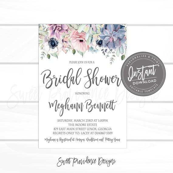 898dd7af2e8 Succulent Bridal Shower Invitation