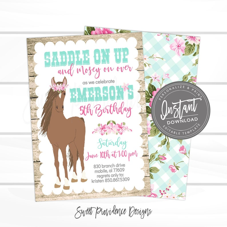 Horse Birthday Invitation Cowgirl Editable Template Country Girl Invite Printable Instant Access