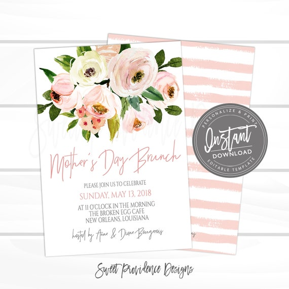 Mother S Day Brunch Invitation Editable Church Brunch Invite Mothers Day Tea Elegant Pink Floral Printable Invite Instant Access By Sweet Providence Designs Catch My Party