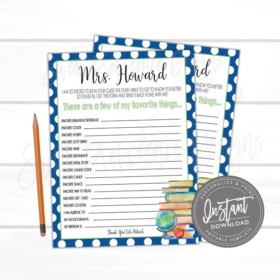 graphic about Teacher Favorite Things Printable titled Printable Academics Present Letter, Preferred Aspects, Instructor