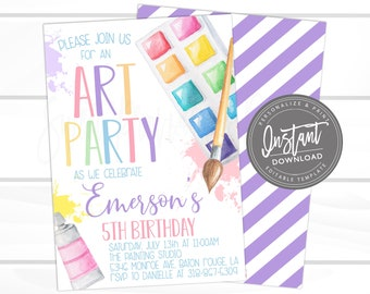 Art Party Invitation, Paint Party, Art Party Birthday invitation, Virtual Birthday Invite. Editable Girl Birthday Invitation, Instant Access
