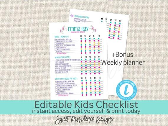 editable kids checklist daily task list customizable chore etsy