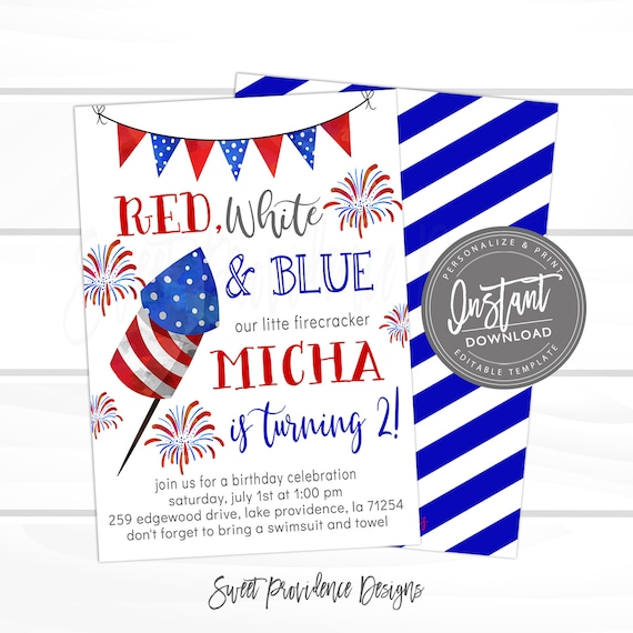 4th Of July Party Invitation Firework Birthday Editable Patriotic Red White Blue American Invite Printable Instant Download